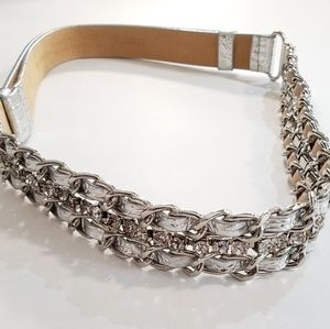 Chico's M/L silver adjustable rhinestone  belt.